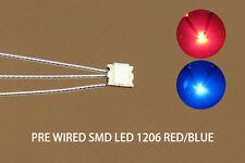 DT1206RB 20pcs Pre-soldered litz wired leads Bi-color RED/BLUE SMD Led 1206 NEW