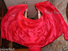 "solid red 3yd*45"" belly dance silk veil+bag, 5mm light paj silk, edges rolled"