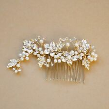 Gold Hair Comb, Crystal Pear,l Bridal Hair Piece, Wedding Jewelry