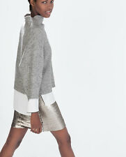 ZARA Dark Silver Gunmetal Sequin Short Skirt L BNWT REF: 0787 226