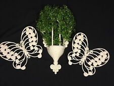 3 pc BURWOOD PRODUCTS WALL POCKET PLANTER WICKER PLAQUE BUTTERFLYs 1629