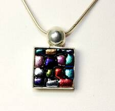 """Sterling Silver Rainbow Color Dichroic Glass Pendant Necklace 16"""" - 1020"""