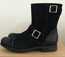 UGG Mens Size 9 Lancing Black Distressed Suede Boots Buckles 1005714 M / BLK
