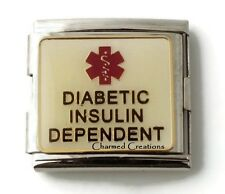 Diabetic Insulin Dependant Medical Alert 9mm Italian Charm 18mm Mega Link