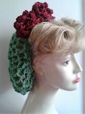 Beautiful Green Handmade Hair snood 1940's WW2 wine roses new Vintage style