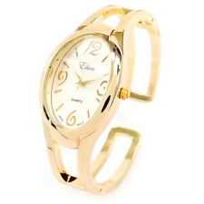 Gold Tone Large Oval Face Women's Bangle Cuff Watch