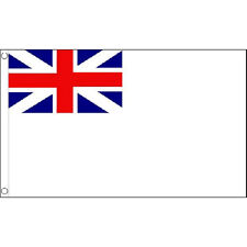 Naval Ensign White Squadron Flag 5Ft X 3Ft Royal Navy Banner With 2 Eyelets New
