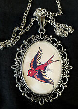 SWALLOW TATTOO Large Antique Silver Pendant Necklace Sailor Jerry Rockabilly 50s