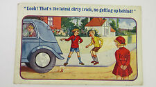 1938 Vintage Comic Postcard Volvo PV 51 Classic Car Spare Wheel Boot Floor