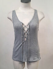 Project Social T Women's Tank Top Ribbed Lace Up Grey XS NEW Urban Outfitters