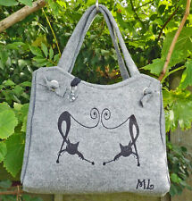Grey Felt Hand Made Tote Shoulder Handbag with Duelling Cats Fully Lined