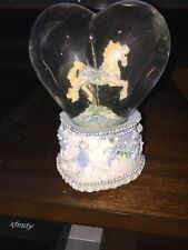 CAROUSEL HORSE HEART SAN FRANCISCO MUSIC BOX CO - WATER GLOBE VTG