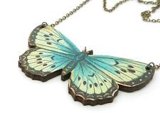 LARGE STATEMENT BEAUTIFUL AQUA BLUE WOODEN BUTTERFLY ANTIQUE BRONZE NECKLACE