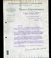 """PARIS (X°) VERRERIES & CRISTAUX d'ECLAIRAGE """"YVON & COUTAUDOUX"""" en 1936"""