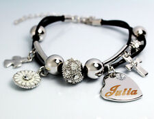 JULIA Leather Name Bracelet 18ct White Gold Plated Christmas Birthday Gifts