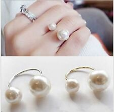 1pcs gold  Hot fashion pearl size adjustable ring opening women jewelry gifts