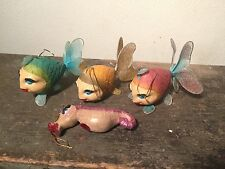 4 KATHERINE'S COLLECTION Glitter KISSING FISH & SEAHORSE Christmas ORNAMENT Lot
