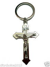 Metal Spiritual Cross With Christ Key Chain for Car and Bike Keyring.