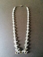 ART DECO CLEAR GLASS BEAD NECKLACE FACETED METAL CHAIN COSTUME JEWELLERY