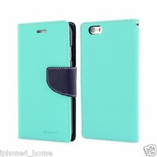 Genuine MERCURY Goospery Mint/Navy Blue Wallet Case Cover For iPhone 5/5s & SE