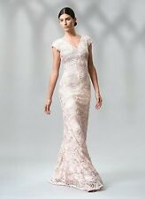 $508 Tadashi Shoji Petal Bloom Passementerie Seashell Embroidered Tulle Gown 8
