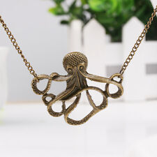 New Brown Octopus Metal Chain Necklaces Pendants Women Girl Charm Crystal Gift