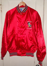 2 Vintage DENNIS AWE Custom Satin Red Tour Jackets Sz L Made In USA