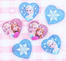 6 x Frozen Sparkle Heart Flatback Cabochons Decoden Kawaii Embellishments Crafts