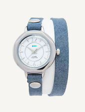 Denim Blue Silver Del Mar Double Wrap WATCH La Mer Collections Womens Leather