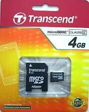 Brand New 4GB Transcend microSDHC Class 2 Memory Card With SD Adapter