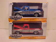 Pack of 2 Chevy Cheyenne Truck 1972 Die-cast 1:24 Blue Red Jada Toys 8 inch Rims