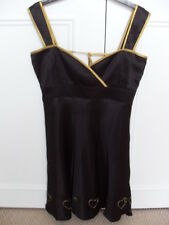 Laura Lees (Topshop) Little Miss Sew Black Satin Shiny Dress - Size S (8/10)