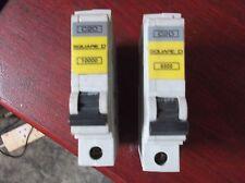 TWO  SQUARE D QOE 20 AMP TYPE C MCB BREAKER QO120EC20. Used.