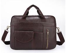 Real Leather Men's Business Handbag Office Briefcase Document Tote Shoulder Bag