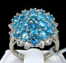 4.75 CT Genuine Swiss Blue Topaz 925 Solid Sterling Silver Cocktail Ring, Size 7