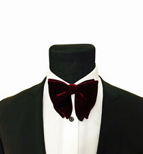 Mens FERUCCI Oversized Bow Tie - Burgundy Velvet Bowtie, Mens big bow tie