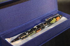 Genuine Multi-Gemstone Globe Pen in Black Pearl - Great Gift - Free Shipping