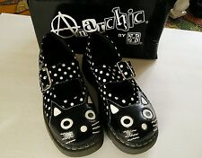 TUK Anarchic Kitty Cat Shoes Mary Jane Polka Dot US Size 7 Black White Leather