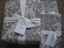 POTTERY BARN Jacquard Linen Medallion KING Duvet & 2 KING Shams NEW - Gray