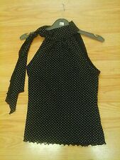 WOMENS BEAUTIFUL BLACK/WHITE SPOTS TIE AT NECK TOP SIZE 12   OFFERS WELCOME.