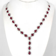 Sterling Silver 925 Genuine Natural Pink Ruby Drop Necklace 18.5 to 20.5 Inches