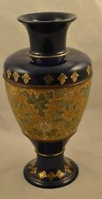 "Royal Doulton Lambeth 13"" Large Vase Gold Beaded Tapestry Artist Marked Stunning"