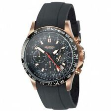 Sekonda Men's Black Dial Chronograph Black Silicone Strap Watch 3101