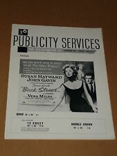 """Back Street""(Susan Hayward/John Gavin/Vera Miles) 1961 UK Press Book/Sheet"