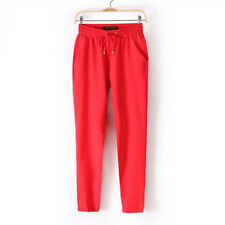 Women Casual Chffion Harem Pants Comfy Elastic Waist Full Length Trousers Gift