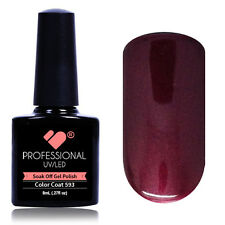* * 593 VB ® linea ROSSO BORDEAUX METALLIZZATO UV / LED immersione OFF NAIL GEL SMALTO COLORE
