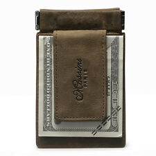 Men Real Leather Slim Pocket Money Clip With Magnetic Card Cash Coin Wallet