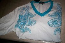 Nwt! INC INTERNATIONAL CONCEPTS V NECK EMBROIDERED T SHIRT-TURQUOISE/WHITE-XL