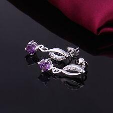 925 Sterling Silver Drop Dangle Stud Earrings Purple Zirconia L42