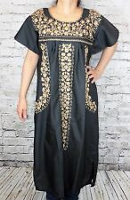 Small Peasant Tunic Boho Hippie Hand Embroidered Mexican Dress Black